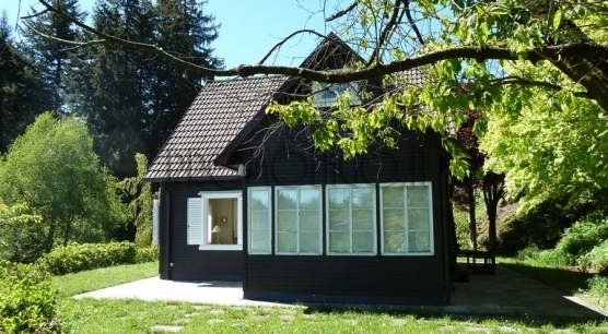 Gignese. Wooden house with garden